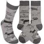Dog Lover Easily Distracted By Dogs Colorfully Printed Cotton Socks from Primitives by Kathy