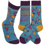 Awesome Birthday Girl Colorfully Printed Cotton Socks from Primitives by Kathy
