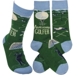 Awesome Golfer Colorfully Printed Cotton Socks from Primitives by Kathy