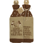 Good Friends Wine Together Bottle Sock Holder from Primitives by Kathy