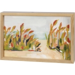 Abstract Beach Landscape Decorative Inset Wooden Box Sign Wall Décor (The Dunes) 12x8 from Primitives by Kathy