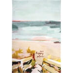 Abstract Beach Design Our Happy Place Cotton Kitchen Dish Towel 18x28 from Primitives by Kathy