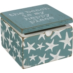 Starfish Print Design The Beach Is My Happy Place Decorative Wooden Keepsake Box 4x4 from Primitives by Kathy