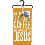 All I Need Is A Little Coffee & A Whole Lotta Jesus Dish Towel & Mug Shaped Cookie Cutter Set from Primitives by Kathy
