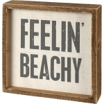 Beach Lover Feelin' Beachy Decorative Inset Wooden Box Sign 7x7 from Primitives by Kathy