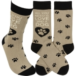 Dog Lover All You Need Is Love And A Dog Colorfully Printed Cotton Socks from Primitives by Kathy