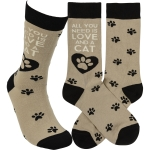 Cat Lover All You Need Is Love And A Cat Colorfully Printed Cotton Socks from Primitives by Kathy