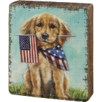 Puppy Dog With American Flags Decorative Wooden Block Sign 3 Inch x 3.5 Inch from Primitives by Kathy