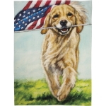 Patriotic Dog Running With American Flag Cotton Kitchen Dish Towel 20x26 from Primitives by Kathy