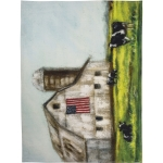 Dairy Cows Farm Barn And American Flag Cotton Kitchen Dish Towel 20x26 from Primitives by Kathy