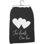 Black & White Two Hearts One Love Cotton Kitchen Dish Towel 28x28 from Primitives by Kathy