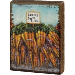Colorful Carrots Farmstand Decorative Wooden Block Sign 3.75 Inch x 5 Inch from Primitives by Kathy