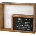 The Truth Bathroom Poem Decorative Double Inset Wooden Box Sign 9 Inch from Primitives by Kathy