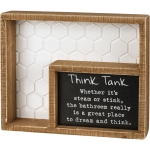 Bathroom Think Tank Poem Decorative Inset Wooden Box Sign 9 Inch from Primitives by Kathy
