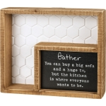 The Kitchen Is Where Everyone Wants To Be Decorative Double Inset Wooden Box Sign 9 Inch from Primitives by Kathy