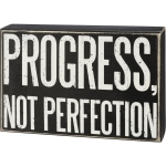 Progress Not Perfection Decorative Wooden Box Sign 8 Inch x 5.5 Inch from Primitives by Kathy