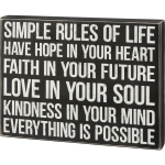 Simple Rules Of Life Everything Is Possible Decorative Wooden Box Sign Wall Décor 13x10 from Primitives by Kathy