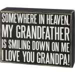Somewhere In Heaven I Love You Grandpa Decorative Wooden Box Sign 6.5 Inch x 5 Inch from Primitives by Kathy
