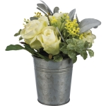 Artificial Botanical Cream Roses Bouquet In Small Metal Bucket Planter from Primitives by Kathy