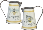 Double Sided Metal Pitcher Bumblebee Design (Happy Humble) 8.75 Inch from Primitives by Kathy