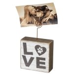 Dog Lover Paw Print Design Love Decorative Wooden Block Sign With Photo Holder 4x4 from Primitives by Kathy