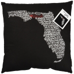 State of Florida Themed Decorative Black & White Throw Pillow 18x18  from Primitives by Kathy