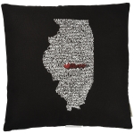 State of Illinois Themed Decorative Black & White Throw Pillow 18x18  from Primitives by Kathy