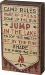 Camp Rules Decorative Wooden Box Sign 6x10 from Primitives by Kathy
