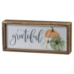 Pumpkin Themed Grateful Decorative Inset Wooden Box Sign 9x4 from Primitives by Kathy
