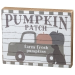 Pumpkin Truck & Dog Pumpkin Patch Decorative Wooden Box Sign 10x8 from Primitives by Kathy