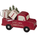 Red Christmas Tree Truck Days Until Christmas Wooden Block Countdown Sign from Primitives by Kathy