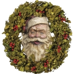 Vintage Style Santa Face Holly Christmas Wreath 24 Inch from Primitives by Kathy