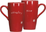 Naughty Or Nice Double Sided Stoneware Latte Mug 16 Ounce from Primitives by Kathy