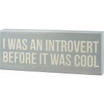I Was An Introvert Before It Was Cool Decorative Wooden Box Sign 18x6 from Primitives by Kathy