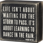 Life Is Learning to Dance In The Rain Decorative Wooden Box Sign from Primitives by Kathy