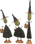 Three Standing Witches Figurine Set by Artist Dan DiPaolo from Primitives by Kathy