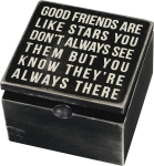 Good Friends Are Like Stars Decorative Hinged Wooden Keepsake Box 4x4 from Primitives by Kathy