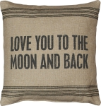 Tan Striped Trim Design Love You To The Moon & Back Decorative Cotton Throw Pillow 15x15 from Primitives by Kathy