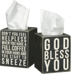 God Bless You Black & White Wooden Tissue Box Cover from Primitives by Kathy
