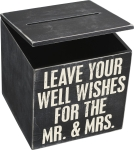 Classic Black & White Leave Your Well Wishes for the Mr. & Mrs. Wedding Card Box from Primitives by Kathy