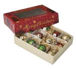 Boxed Set of 12 Mini Ball Glass Christmas Ornaments (Red Gold & Green) 1.5 Inch from Primitives by Kathy