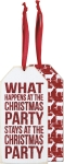 Set of 6 What Happens At The Christmas Party Stays At The Party Wooden Wine Bottle Tags from Primitives by Kathy