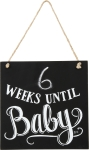 Weeks Until Baby Wooden Hanging Chalkboard Countdown Sign 9x9 from Primitives by Kathy