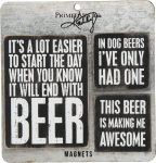 Set of 3 Beer Themed Refrigerator Magnets from Primitives by Kathy