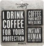 Set of 3 Coffee Themed Refrigerator Magnets from Primitives by Kathy