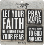 Set of 3 Faith Themed Refrigerator Magnets from Primitives by Kathy