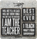 Set of 3 Teacher Themed Refrigerator Magnets  from Primitives by Kathy