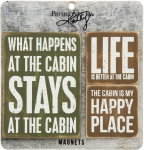 Set of 3 Life At The Cabin Refrigerator Magnets from Primitives by Kathy
