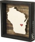 Wisconsin State Decorative Inset Wooden Box Sign from Primitives by Kathy