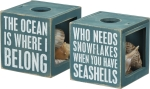 Double Sided The Ocean Is Where I Belong Decorative Sea Shell Holder Keepsake Box from Primitives by Kathy